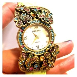 Heidi Daus crystal butterfly watch leather strap